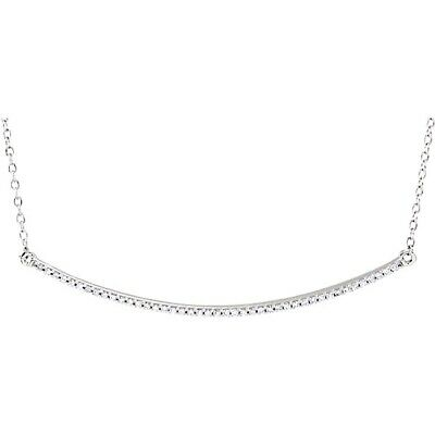 Diamond Bar Necklace Curved 1/6ctw 14kt White Rose or Yellow Gold 16 18 in Chain