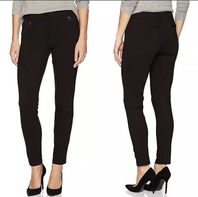 Adrianna Papell Black Zip Ankle Skinny Ponte Stretch Pants Leggings Size 6 NWOT