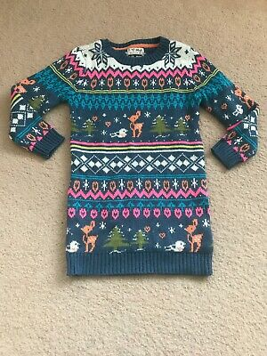 Next girls blue pink knitted Christmas jumper dress age 2-3 years 98cm