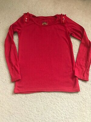 Next girls cotton red  sequin long Sleeve top t-shirt age 9-10 years