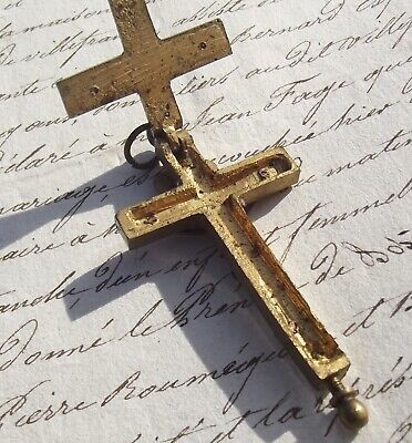 Antique French Reliquary Cross 19th Century Rosary Crucifix relic compartment