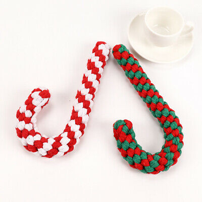 Christmas Candy Cane Pet Dog Chew Toys Braided Cotton Rope Puppy Teething Toy