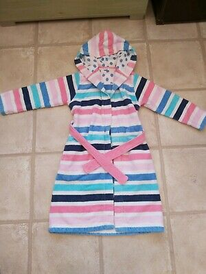 Marks and Spencer Girls Stripy Dressing Gown Towelling 7-8 Years