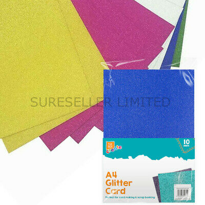 10 Sheets of Premium A4 Glitter Card Assorted Colours Scrapbook Crafts Xmas UK