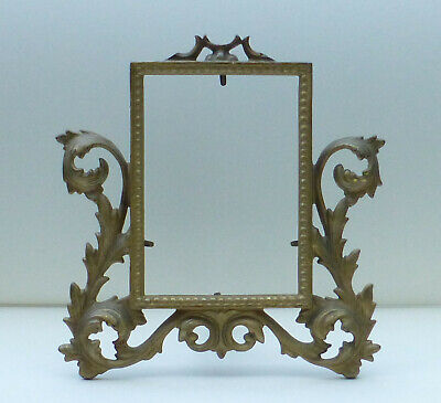 Ornate Heavy Cast Iron Art Brass Easel Back Desk or Vanity Picture Frame 3.5 x 5