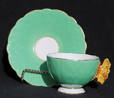 Aynsley  Butterfly Handle Bone China Green Footed Cup & Saucer Gold Trim England