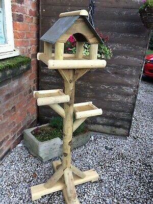 """Bird Table  Slate Roof. TREATED TIMBER AND ARCHED HOUSE ( 54""""HIGH 23"""" BASE )"""