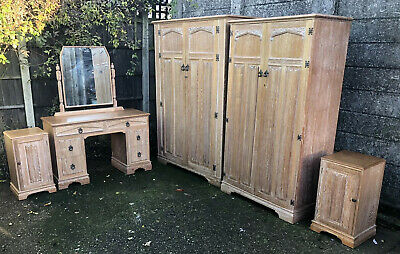 Very Rare Clean Art Deco Limed Oak 6 Piece Bedroom Suite 2-Man Delivery