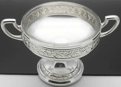 Antique Wmf Silver Plated Pedestalled Small Bowl With Glass Liner