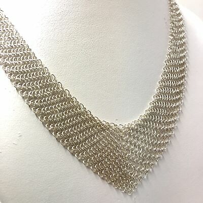 Tiffany & Co. Elsa Peretti Mesh Bib Choker Necklace in Sterling Silver