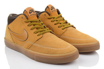 NIKE SB PORTMORE II Solar Light Tan Blue Trainers UK 8 EU