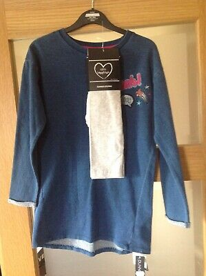 Girls Outfit Long Sleeved Tunic Top With Grey Leggings 8 Yrs BNWT