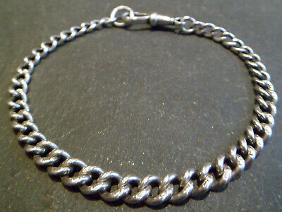 Antique Chunky Solid Silver Albert Pocket Watch Chain Bracelet - Hallmarked