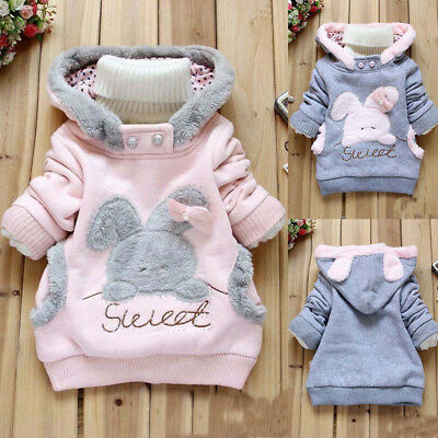 Toddler Baby Girls Sweater Hooded Coats Winter Jacket Kids Girls Warm Clothes