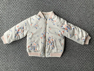 Baby Gap Satin Look Floral Bomber Jacket / Coat Age 2 Years