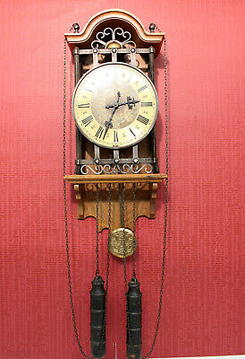 *Old Wall Clock Regulator clock in wood and metal*FHS*
