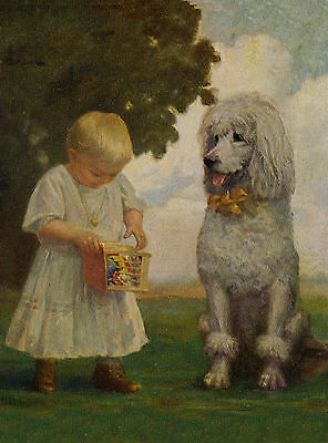 POODLE AND EDWARDIAN LADY CHARMING DOG GREETINGS NOTE CARD