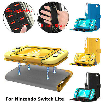 MoKo PU Leather Magnetic Case Cover for Nintendo Switch Lite W/ Card Slot&Pocket