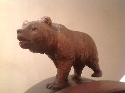 """Antique Black Forest Hand Carved Bear 8"""" Inches - Stud Eyes - 2 Restored Paws"""