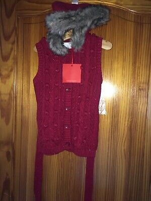 Girls Red Sparkle Gilet/ Waistcoat Age 3 Red Faux Fur Collar