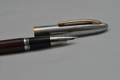 Nice Rare Vintage Sheaffer's Snorkel Made In USA Fountain Pen Red With Steel Cap