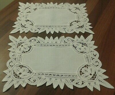 2 Vintage White Cotton And Tape Lace Doilies / Table Mats