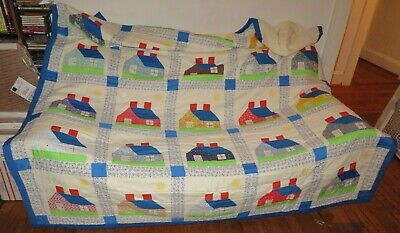 """Vintage House Home Log Cabin Antique Quilt Quilted Handmade Homeade 92"""" x 76"""" +-"""