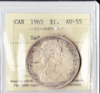Canadian Canada silver dollar $ 1 Coin 1965 AU 55 SB PTD5 ICCS Certified