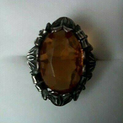 Vintage Antique Sterling ring with amber colored spinel glass/stone(?) - Stamped