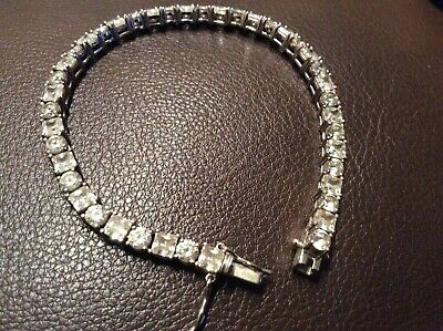 Round and Square Cubic Zirconia Sterling Silver Link Tennis BRACELET 71/2 Inch
