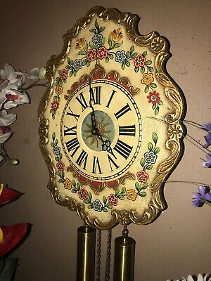 Beautiful German Black Forest Painted 8 Day Striking Rod Chime Wall Clock