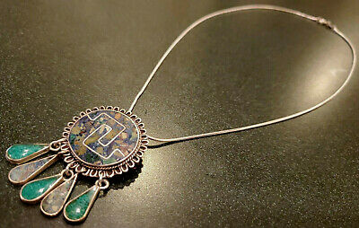 Vintage Mexico Taxco Sterling Silver Inlay Necklace Pendant