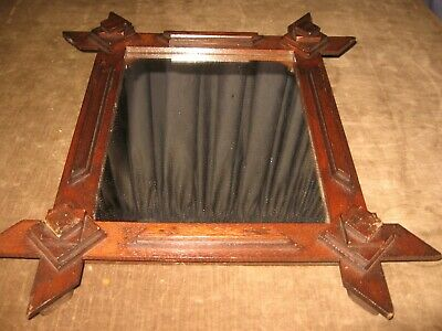 Antique Folk Art Adirandack Mirror Picture Frame Walnut Arts Crafts 1890s 1910