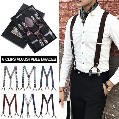 BLACK WHITE SUSPENDERS BRACES ELASTIC MEN/'S ADJUSTABLE WEDDING CLIP 85CMS MENS