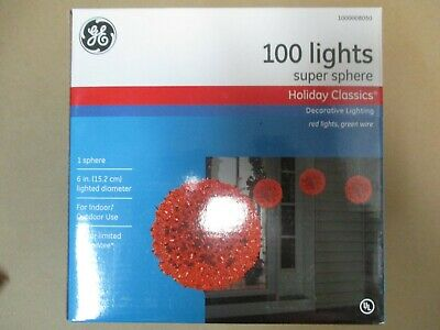 """Ge 6"""" Holiday Classics Super Sphere With 100 Red Lights - New"""