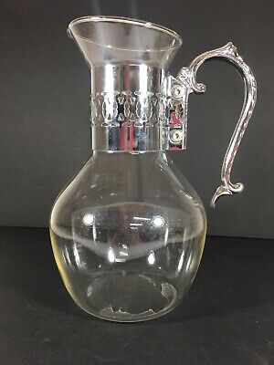 Vintage Glass Carafe Coffee Pitcher with Silver Plate Detailed Handle