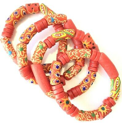 Handmade Ghana Fancy Coral Red-multi color bracelet-African Trade Beads-Ghana
