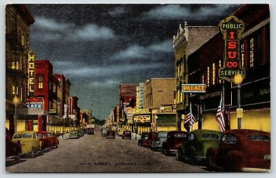 Ottumwa Iowa~Main Street Night Lights~Capitol Theatre~Donuts Lunch~1940s Linen
