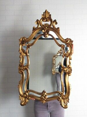 Mirror Baroque with Mirror Glass and Frame Wood Golden Xx Century
