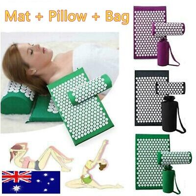 Massage Acupressure Mat+Pillow+Bag Yoga Shakti Sit Lying Pain Stress Soreness AU