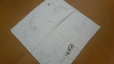 Hand-embroidered Vintage Semco Tablecloth–Partly worked–Cut-work-Almost complete