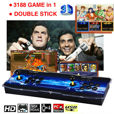 12 3188 in 1 Games 4 Player Arcade Console 2D 3D For TV Projector