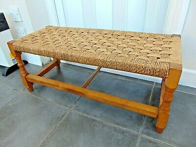 Vintage Retro Wood & Rattan Double Length Foot Stool Bench