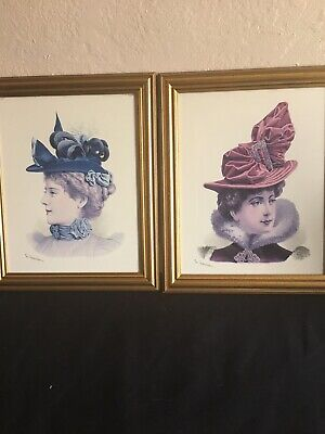 2 Framed Prints of Late 19thCentury Millinery Fashion By G Gonin