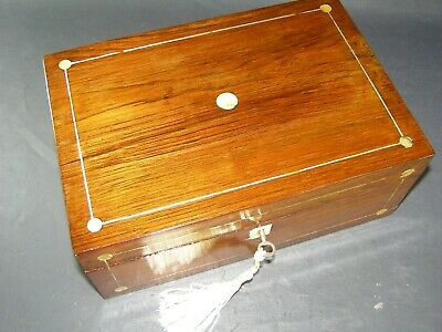 Antique Rosewood Box Mother Of Pearl Roundels Working Lock & Key c1880