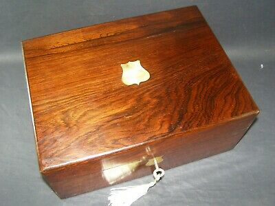 Antique Rosewood Box Mother Of Pearl Shield Center Working Lock & Key c1870