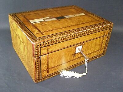 Antique Tunbridge Banded Box Working Lock & Key c1870 Mother Of Pearl Inlay