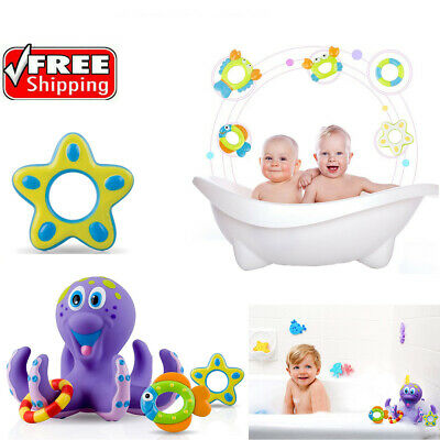 Bath Toy Baby Boy Girl Kids Floating Octopus Infant Toddlers Play &5 Ring Shower