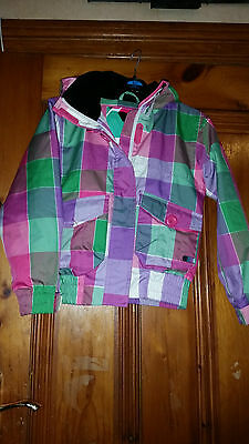 Girls Animal Technical Multi Coloured Checked Jacket With Earphone Pocket Sz Gsx