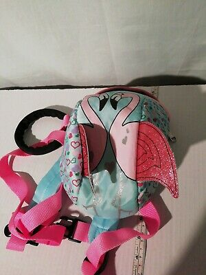 Flamingo Rucksack With Reins - Pink & Blue - Toddler Backpack
